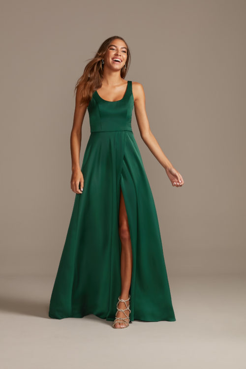 Crepe-Back Satin Scoop Tank Dress