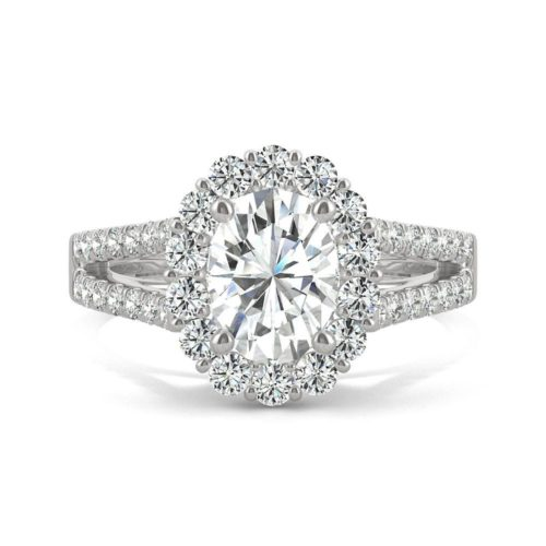 Forever One Oval Halo Ring in White Gold