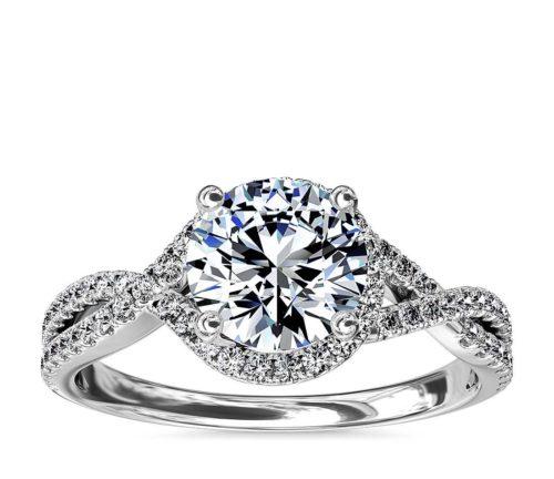 Twisted Halo Diamond Engagement Band