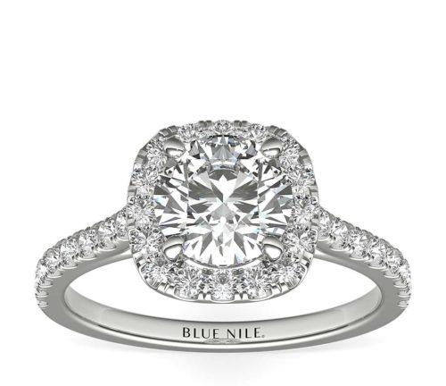 1-Carat Cushion Diamond and Platinum Engagement Band
