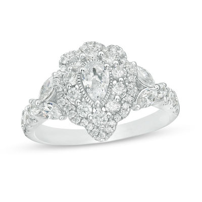 Pear Shaped Double Scalloped Frame Engagement Band