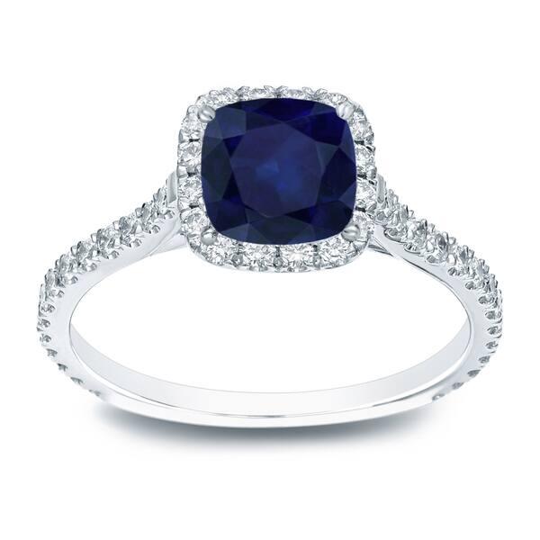 Auriya 1-Carat Blue Sapphire Halo Engagement Band