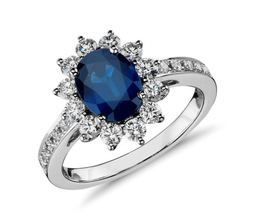 Oval Sapphire With Halo