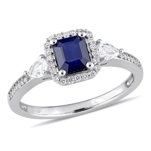 Blue and White Sapphire Diamond Frame Engagement Band