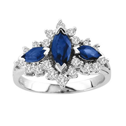 Blue Sapphire and Diamond Three-Stone Engagement Band