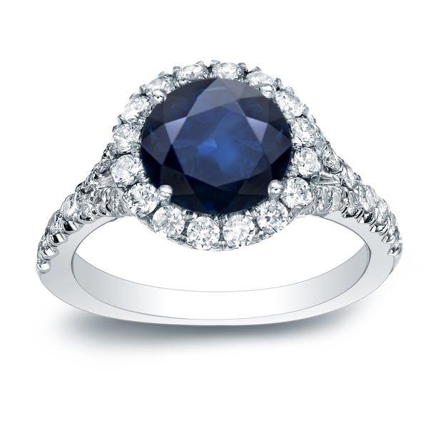 Auriya Sapphire and Diamond Engagement Band