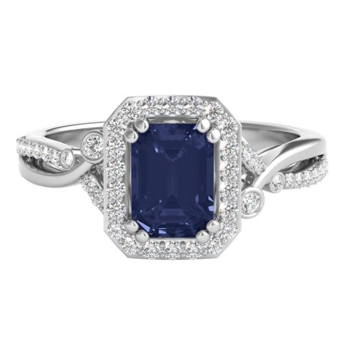 Shades of Love Sapphire and Diamond Engagement Band