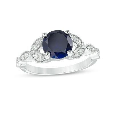 Blue Sapphire and Petals Engagement Band