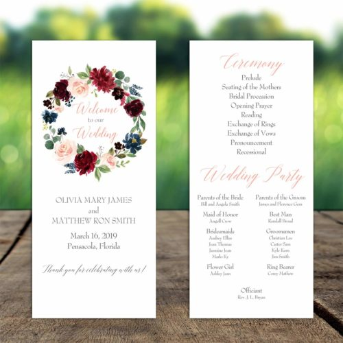 Burgundy Floral Wreath Program