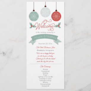 Baubles and Holly Holiday Wedding Program