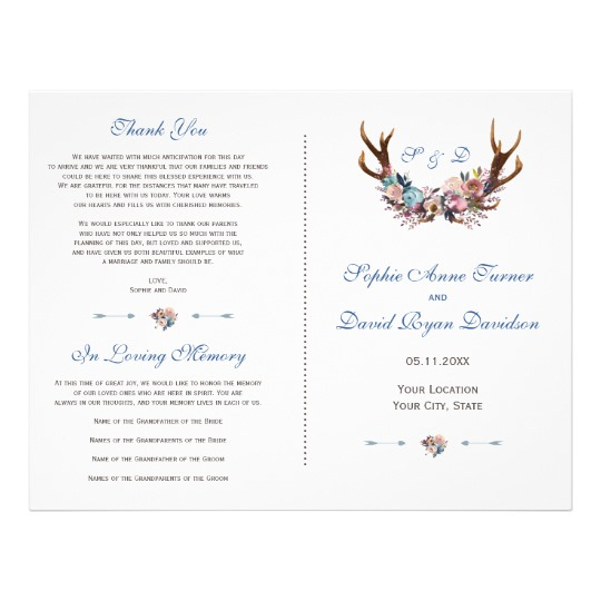 Dusty Blue and Pink Floral Antlers Program