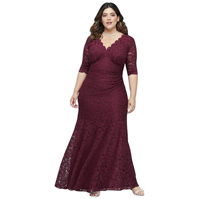 V-Neck Ruched Lace Plus Size Gown