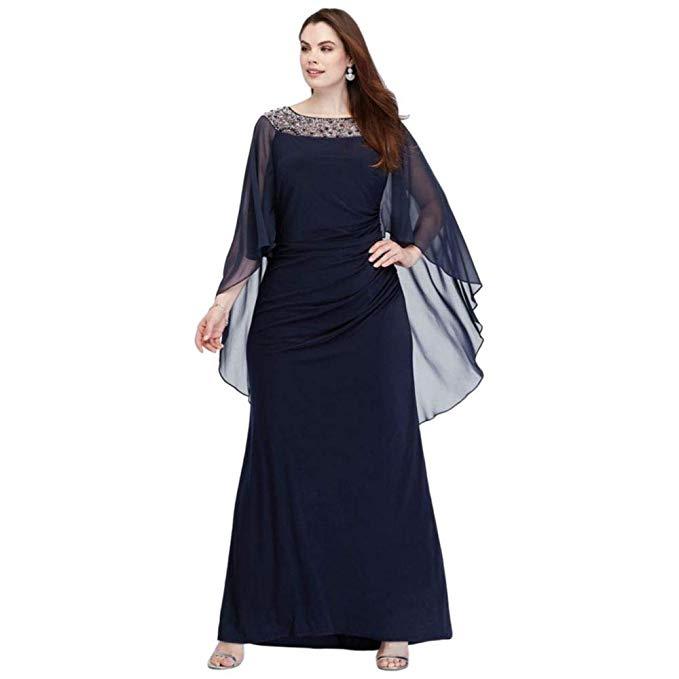 Drape Sleeve Plus Size Gown