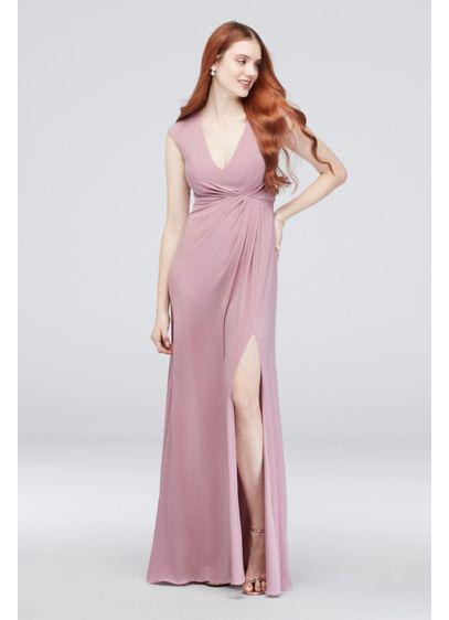 Gathered Jersey V-Neck Dress