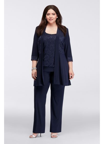 Mock Two-Piece Lace and Jersey Pant Suit