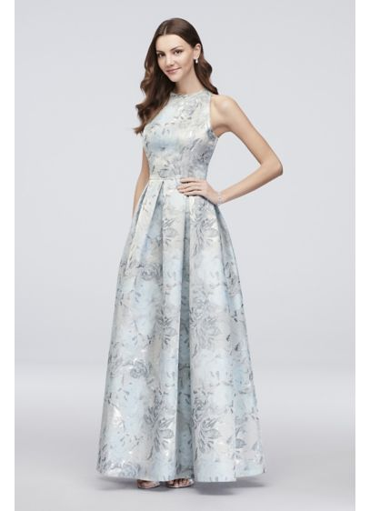 Floral Jacquard Sleeveless Ball Gown