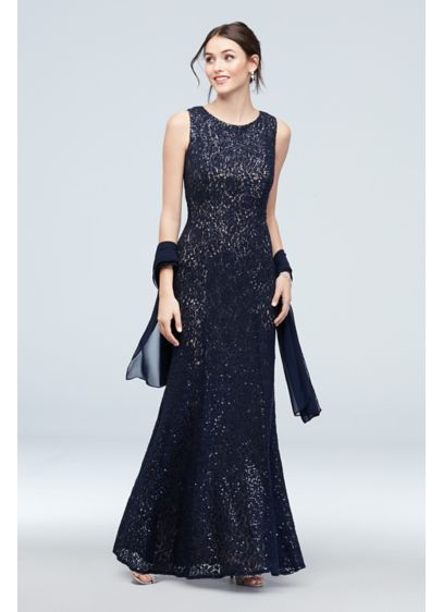 Sequin and Lace High-Neck Mermaid Gown