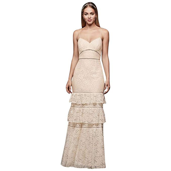 Lace Sheath Gown with Openwork Insets