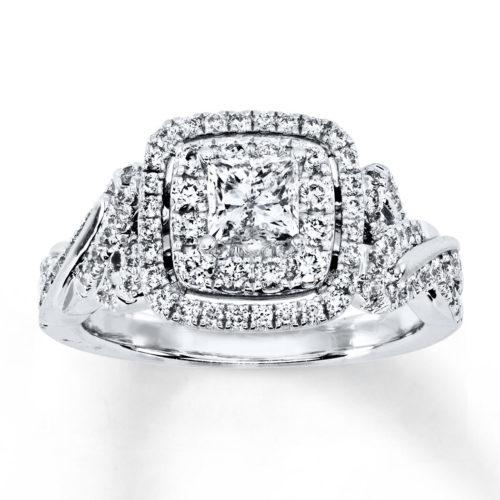 Vera Wang 1-1/5 Carat Diamond and White Gold Ring