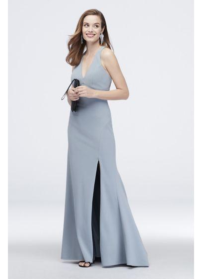 Crepe Plunging V-Neck Tank Dress with Slit