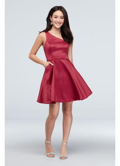 One-Shoulder Skinny Strap Short Dress with Pockets