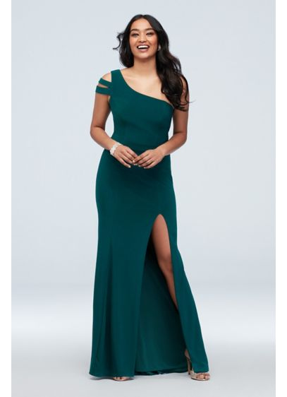 Banded Asymmetric Sleeve Stretch Jersey Gown
