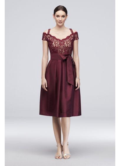 Off-the-Shoulder Short Taffeta A-Line Dress