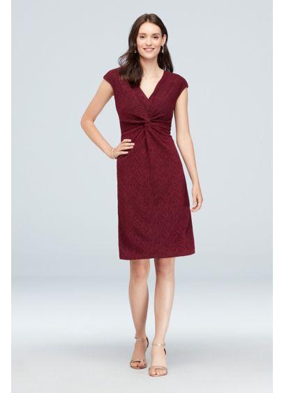 Twist-Front Metallic Jacquard Dress