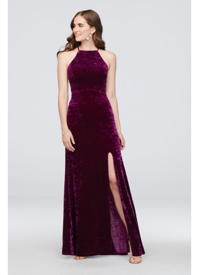 Crushed Velvet Lace-Up Halter Gown