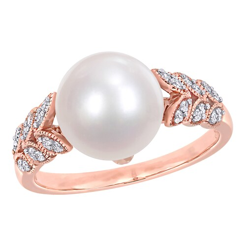 Stella Grace Rose Gold, Diamond and Freshwater Cultured Pearl Ring