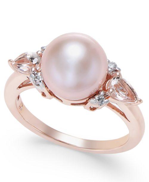 Pearl, Morganite and Diamond Ring