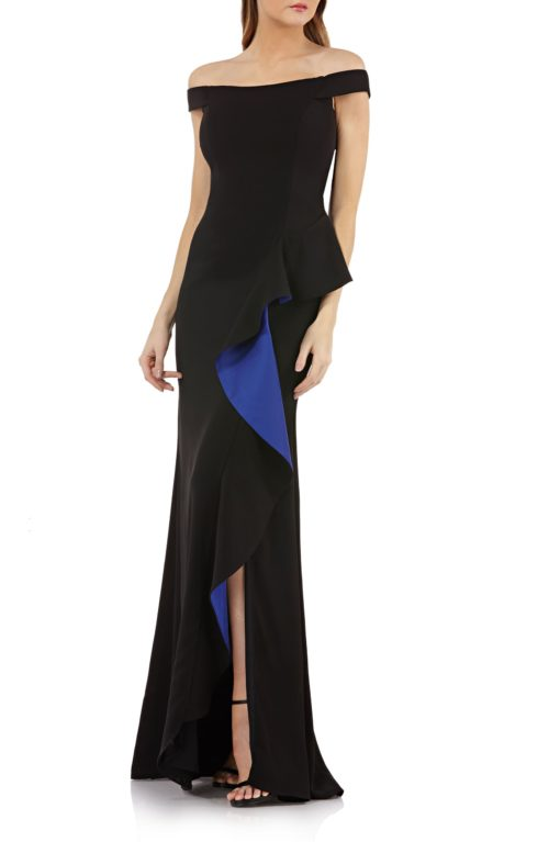 Carmen Marc Valvo Ruffle Off-the-Shoulder Gown
