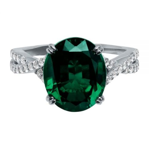 Passion Lab-Grown Diamond, Emerald and White Gold Ring