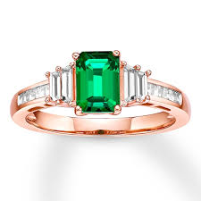 Lab-Created Emerald and Sapphire Ring