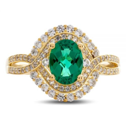 Emerald and White Sapphire Oval Ring