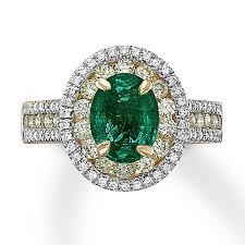 Natural Emerald and 1 Carat Diamond Ring