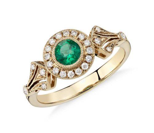 Emerald and Diamond Halo Milgrain Ring