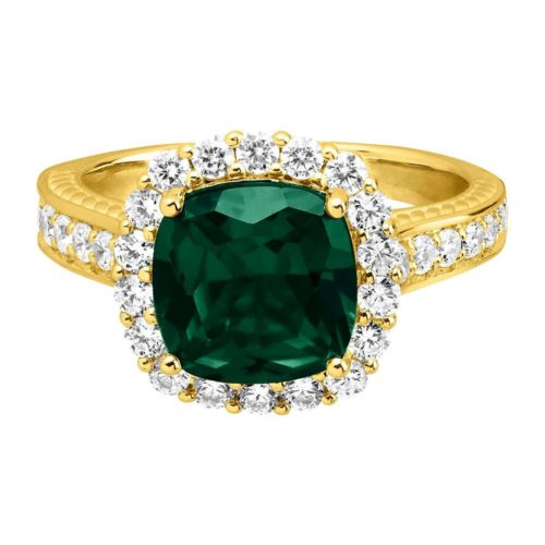 Passion Lab-Grown Diamond and Emerald Ring