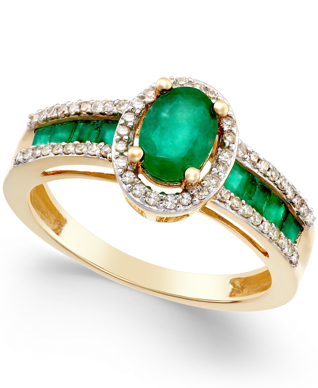 Macy's Emerald and Diamond Ring