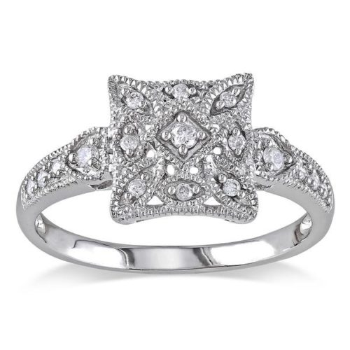 Miadora Diamond Square Shape Art Deco Ring