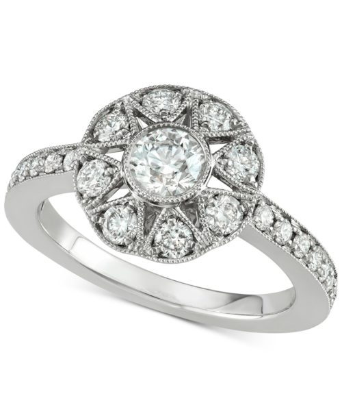 Marchesa Diamond Floral Engagement Ring