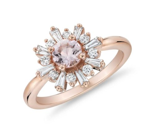Baguette Diamond Halo Ring