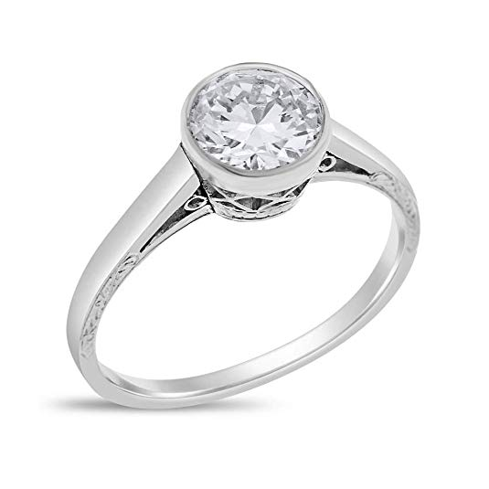 Desire My Diamonds Vintage Art Deco Bezel Set Engagement Ring