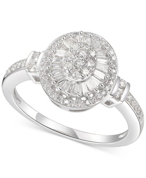 Diamond Oval Starburst Cluster Ring