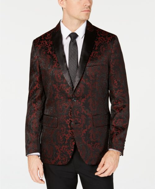 INC International Slim Fit Jacquard Blazer