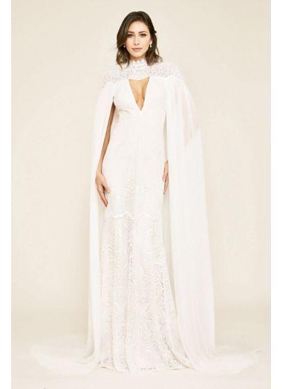 Tadashi Shoji Caspian Lace Wedding Gown with Chiffon Cape