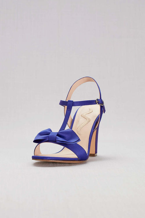 Nina Bowtied Satin T-Strap Block Heel Sandals