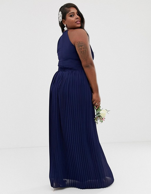 TFNC High-Neck Pleated Maxi Dress