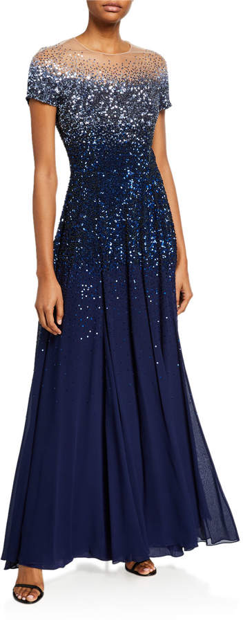 Escada Degradé Sequined Cap-Sleeve Illusion Gown
