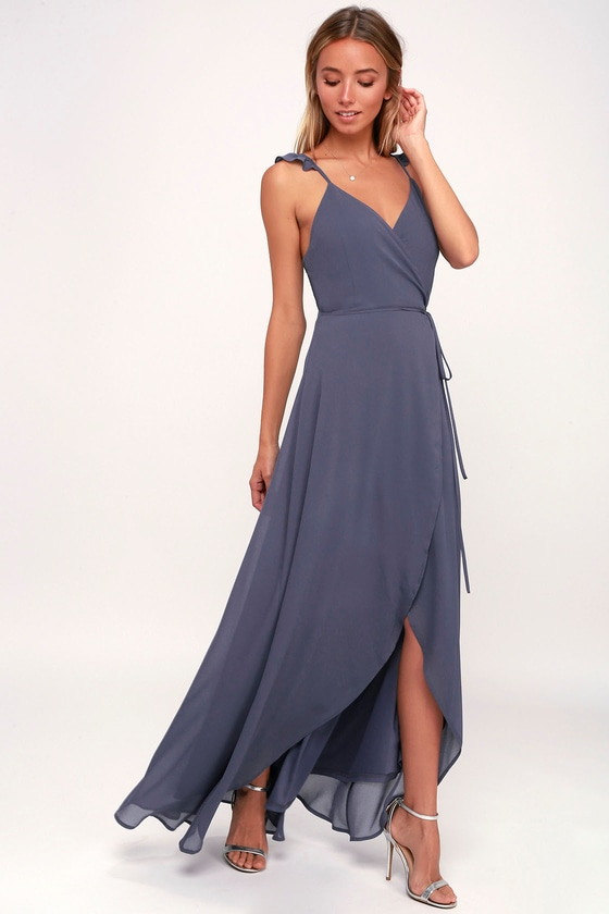 Here's To Us Denim Blue High-Low Dress